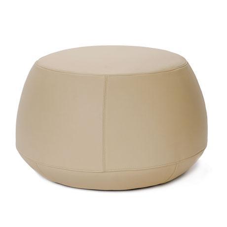 2020s Cream Italian Leather Round Ottoman, Bensen For Sale - Image 5 of 5