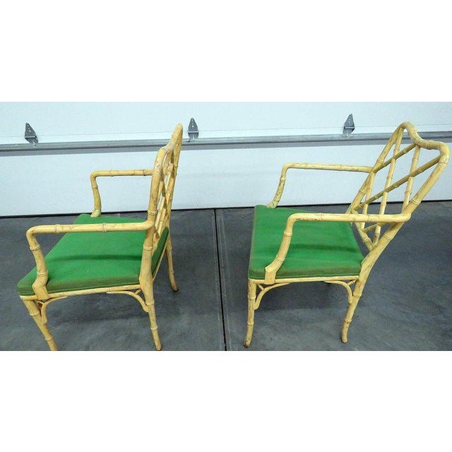 Mid 20th Century Pair of Faux Bamboo Armchairs For Sale - Image 5 of 9