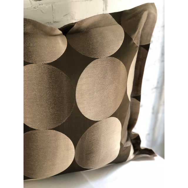 "Fabulous pair of 24"" Jim Thompson flange edge pillows with geometric eclipse like patterns, and in hues of champagne and..."