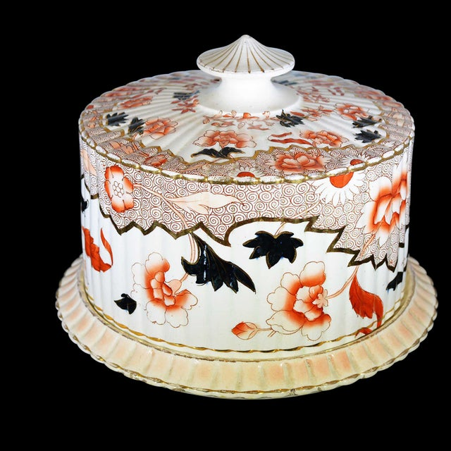 Victorian English Ceramic Cheese Dome With Printed and Hand Painted Decoration For Sale - Image 10 of 13