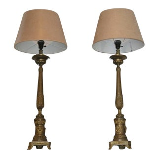 Italian Brass Candlestick Lamps - a Pair For Sale