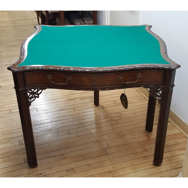 "Maitland Smith Flip Top Game Table Hand carved Showroom Sample Closed 39"" Wide 20"" Deep 30"" High Opened - Green felt..."