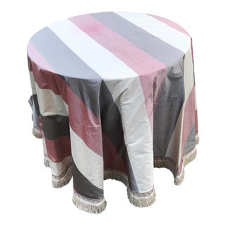 Round Silk & Fringed Cloth Covered Accent Table For Sale
