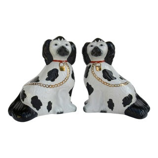 Porcelain Hand-Painted Staffordshire Dogs With Gold Collars -A Pair For Sale