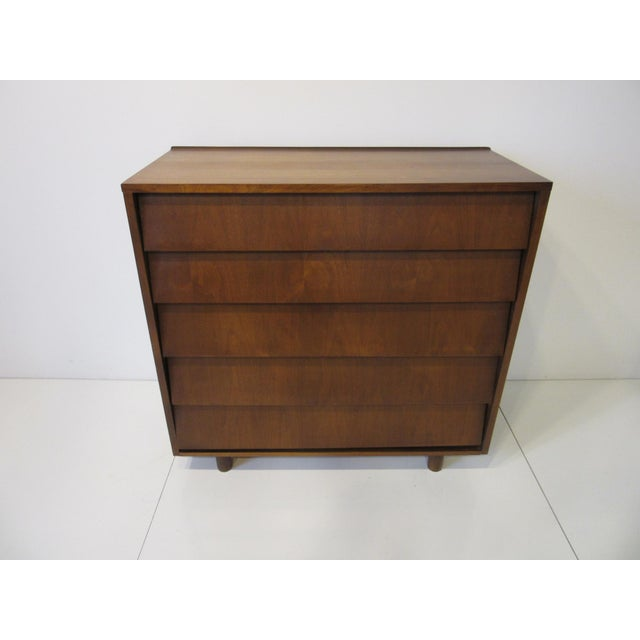 Mid Century Walnut Slanted Front 5 Drawer Dresser For Sale In Cincinnati - Image 6 of 9