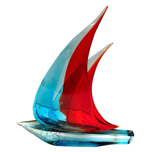 Glass Sailboat Sculpture by Sergio Costantini For Sale - Image 7 of 7