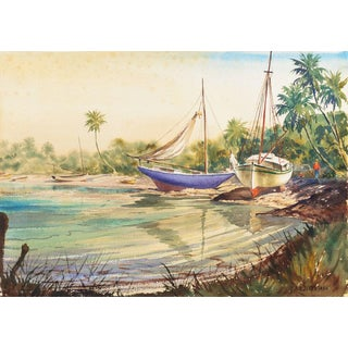 'Sailboats on a Tropical Florida Inlet' by Kaspar-Andreas Zimmermann, Circa 1965 For Sale