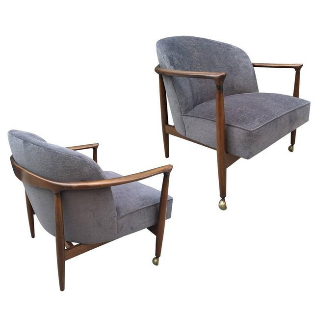 1960s Pair Ib Kofod-Larsen Sculptural Lounge Chairs For Sale - Image 5 of 5