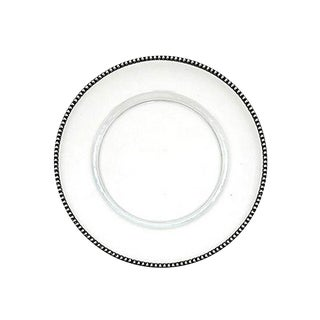 Arte Italica Glass & Pewter Serving Charger For Sale