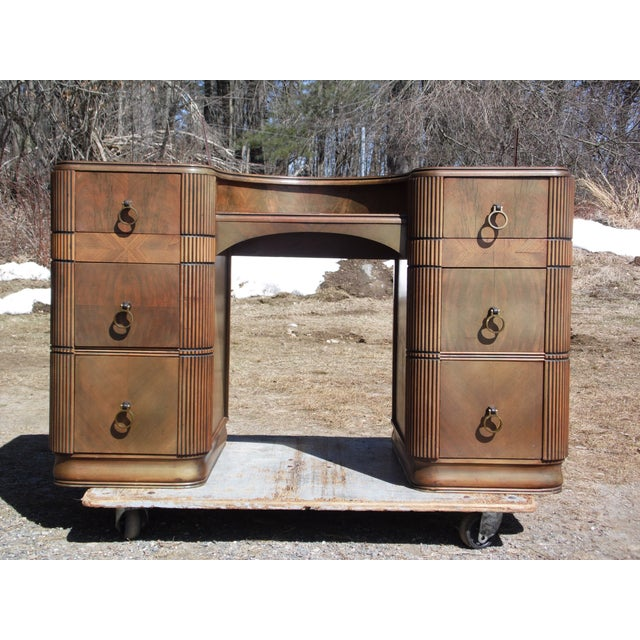 Antique Art Deco Walnut Office Desk Vanity United Furniture Co. #351 features 6 large drawers with dovetail joinery,...