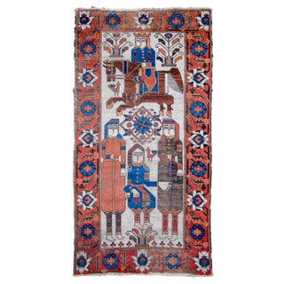 1900s Ferdows Khosrow and Shirin Pictorial Rug-3'7'x7 For Sale