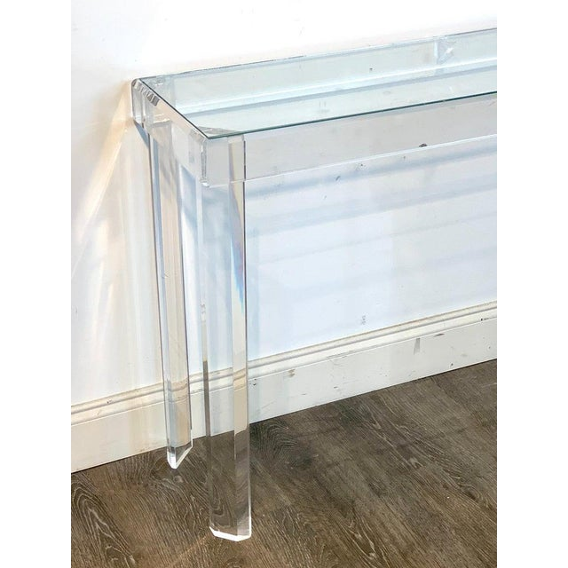 Sleek Modern Lucite and Glass Console For Sale - Image 10 of 11