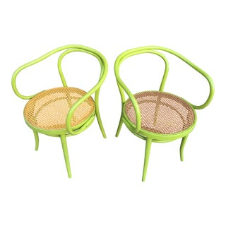 Pair of Apple Green Thonet Chairs For Sale