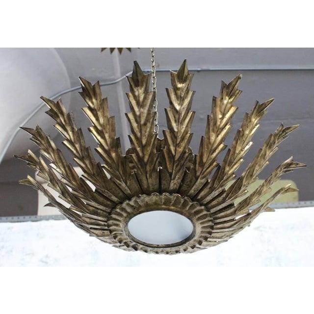 20th Century Spanish Gilt Metal Sunburst Ceiling Fixture - Image 5 of 10