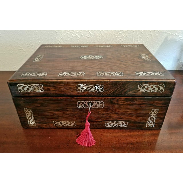 19c British Rosewood and Mop Inlaid Dressing Table Box For Sale - Image 10 of 13