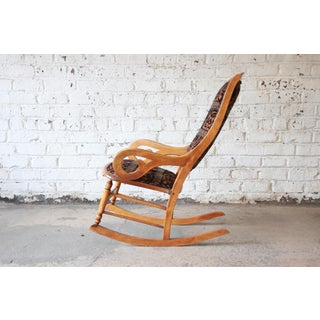 Antique Maple Rocking Chair Reupholstered in Modern Animal Motif Print Preview