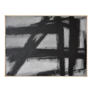 """Concrete No 5 Black Horizon Painting - 30"""" X 40"""" For Sale"""