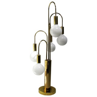 Mid Century Modern Brass with 5 Globe Table Lamp