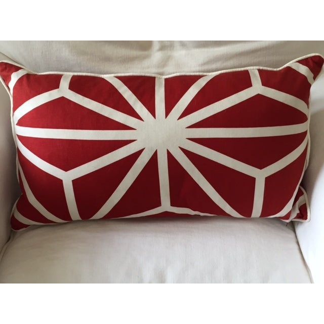 Red and White Patterned Pillow - Image 2 of 4