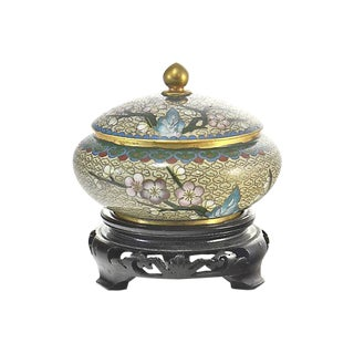 Chinese Gold Gilt Cloisonne Jar & Stand For Sale