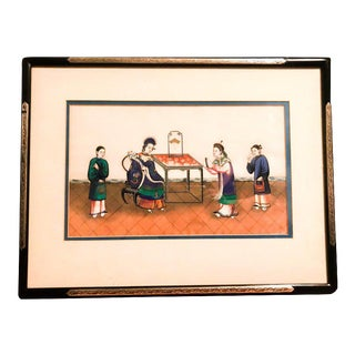 Late 19th Century Chinese Canton School Framed Pith Paper Export Painting For Sale