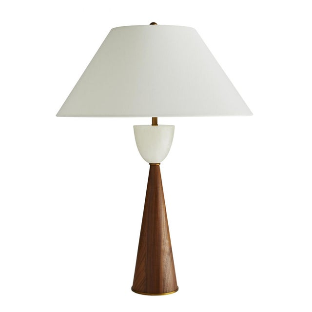 Arteriors Mid-Century Modern Style Walnut and Marble Stanford Table Lamp For Sale In Atlanta - Image 6 of 6