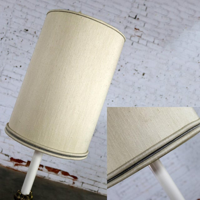 Stiffel Tall Table Lamp or Low Floor Lamp Mid Century Brass and Brushed Stainless Steel For Sale - Image 12 of 13