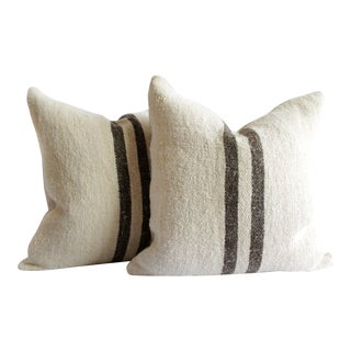 Vintage Grainsack and Linen Pillows With Dark Brown Stripes For Sale