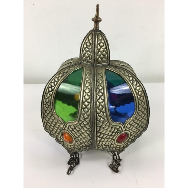 Moroccan Style Glass and Metal Shade For Sale - Image 5 of 7