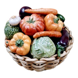 Huge Italian Vietri Ceramic Vegetable Basket Bowl Decor