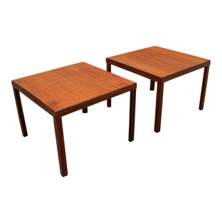1960s Danish Modern Hans Olsen for Finn Lindebo Teak and Rosewood Side Tables - a Pair For Sale