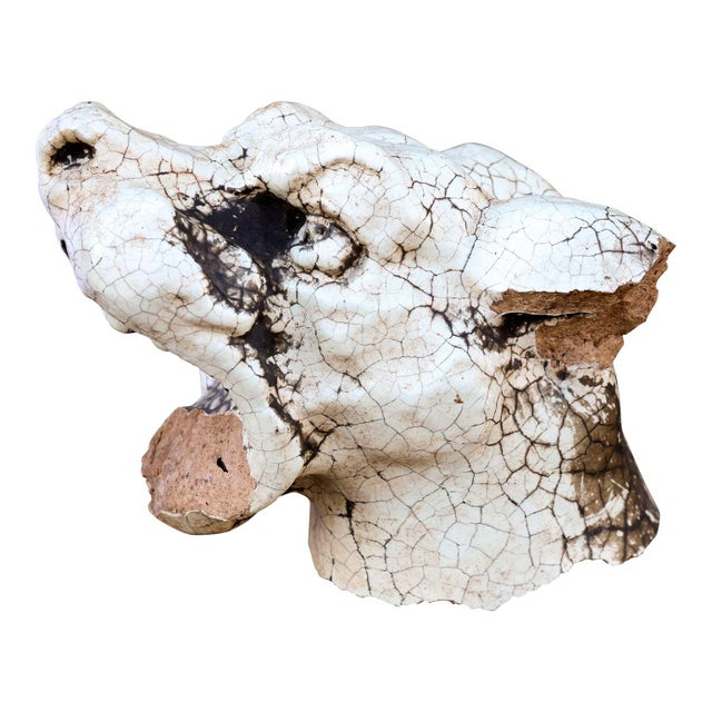 Late 19th Century Late 19th Century Glazed Terracotta 'Dog Head' Architectural Fragment For Sale - Image 5 of 6