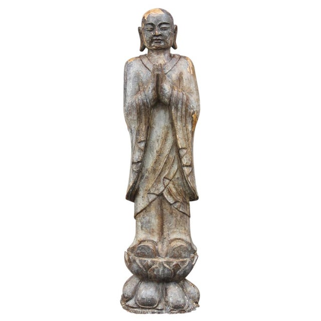 Antique Wooden Monk Statue - Image 1 of 6
