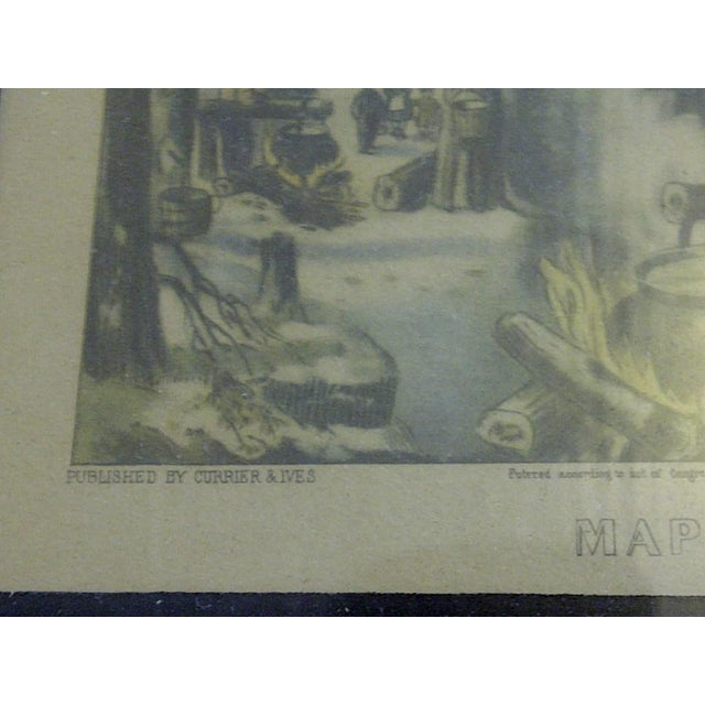 """Currier & Ives """"Maple Sugaring"""" Lithograph Reprint - Image 6 of 7"""