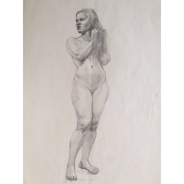 Mid-Century Drawing of Standing Nude Female For Sale