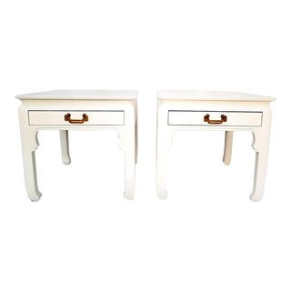 1960s Asian Inspired Linen White Solid Wood Side Tables - a Pair