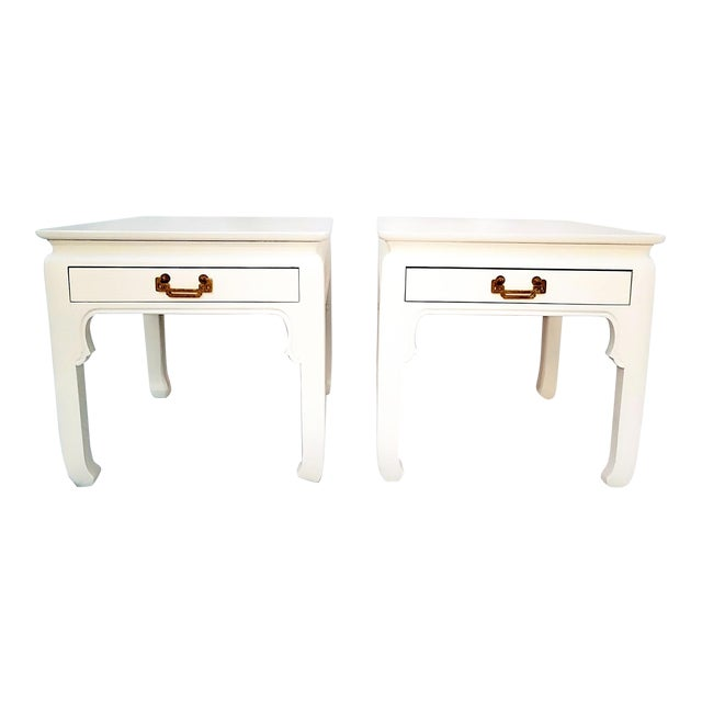 1960s Asian Inspired Linen White Solid Wood Side Tables - a Pair For Sale