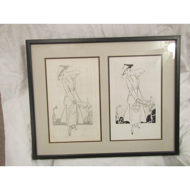 Drawing/Sketching Materials Framed Original Magazine Fashion Pencil Sketch and Matching Black Ink Drawing For Sale - Image 7 of 7