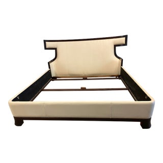Eastern King Baker Furniture Thomas Pheasant Cream Leather Luxe Bed Frame For Sale