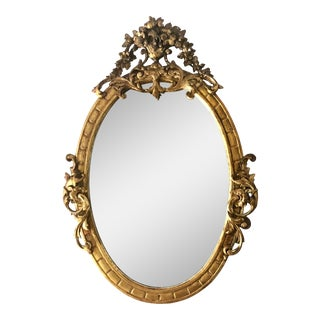 Antique 19th C French Louis XV Gilt-Wood Oval Mirror For Sale