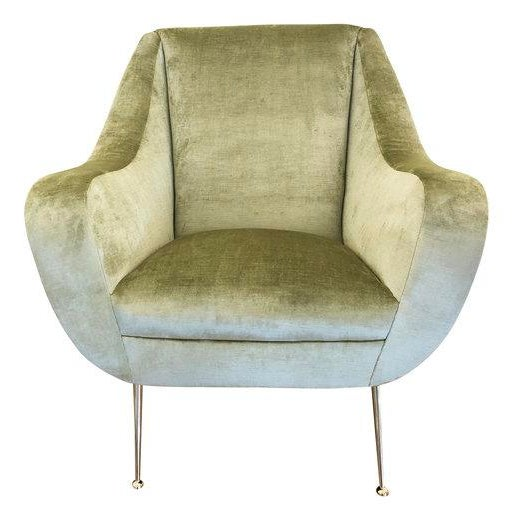 Pair of Light Green Mid-Century Lounge Chairs For Sale - Image 4 of 8