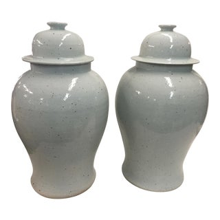 Antique Celadon Ginger Jars a Pair For Sale