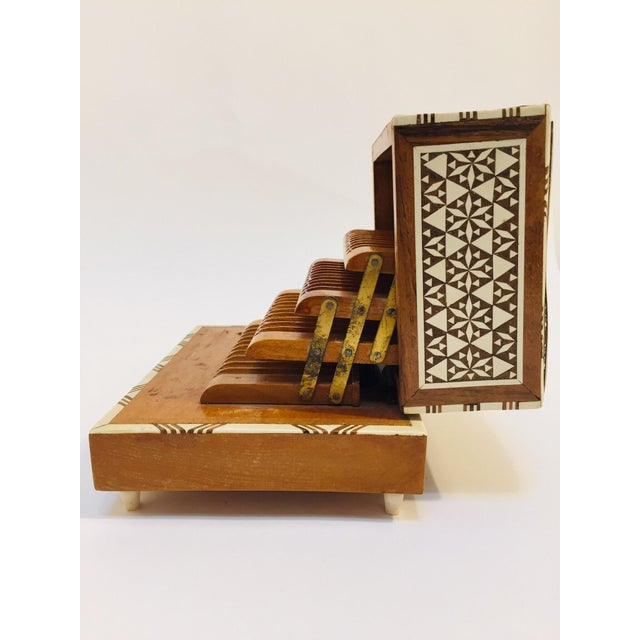 Vintage Moorish Syrian style cigarette music box inlaid with mother of pearl, bone and ebony. Handcrafted very fine...