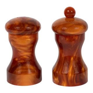 Mid-Century Modern Tortoise Bakelite Salt and Pepper Shaker Set by Au Bain Marie - 2 Pieces For Sale