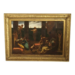 Antique English Oil Painting in a J & W Vokins Giltwood Frame, 19th Century For Sale