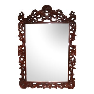 "Grand 53"" Rococo Carved Crest Lacquer Mirror For Sale"