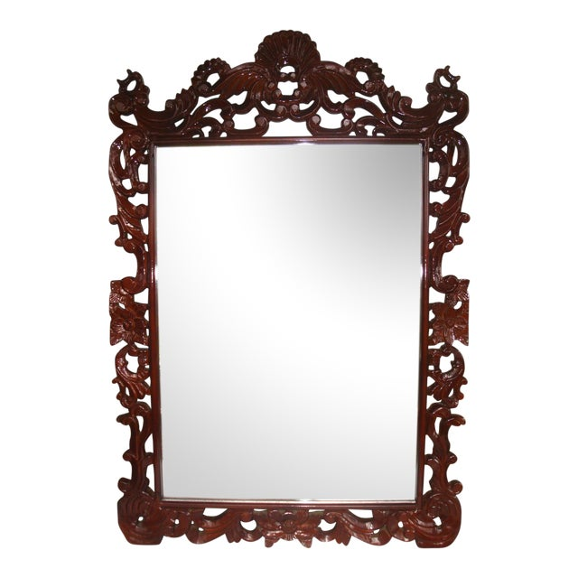 "Grand 53"" Rococo Carved Crest Lacquer Mirror For Sale"