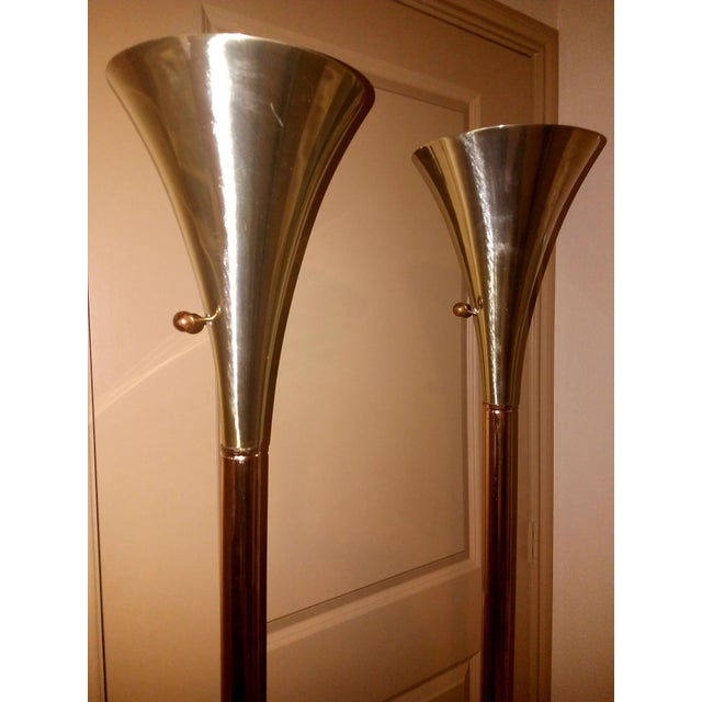 1960s 1960s Vintage Laurel Lamp Company Brass Torchiere Floor Lamps - A Pair For Sale - Image 5 of 7