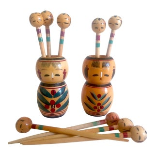 Vintage Mid Century Japan Rare Kokeshi Hand Painted Wood Hors d'Oeuvre Picks / Cocktail Skewers - 11pc Set For Sale
