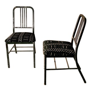 Pair of Industrial Metal Mud Cloth Chairs For Sale